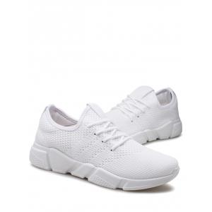 Low Top Tie Up Mesh Sneakers - Blanc 43