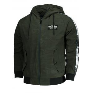 Camo Side Letter Print Hooded Jacket - ARMY GREEN 3XL