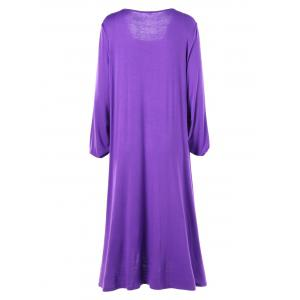 Plus Size Midi Surplice T-shirt Dress - PURPLE 5XL