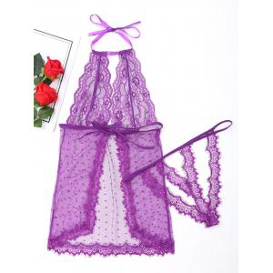 Sheer Halter Babydoll with Lace - PURPLE M