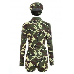 Camouflage Long Sleeve Soldier Costume - ACU CAMOUFLAGE M