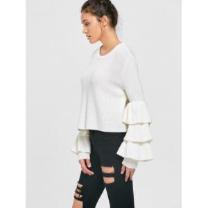 Tiered Flare Sleeve Sweater - WHITE S