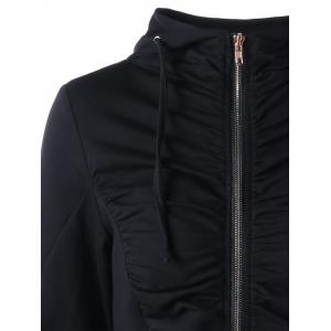 Zip Up Ruched Tunic Hoodie - BLACK XL