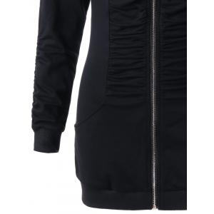 Zip Up Ruched Tunic Hoodie - BLACK 2XL