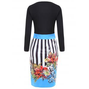 Sweetheart Neck Striped Floral Bodycon Dress - BLUE L
