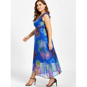 Plus Size Floral Print Beads Embellished Maxi Dress - BLUE 2XL