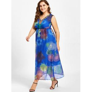Plus Size Floral Print Beads Embellished Maxi Dress -