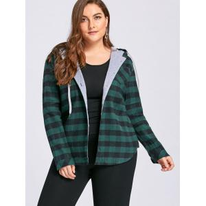 Plus Size Tartan Drawstring Hoodie - GREEN 3XL