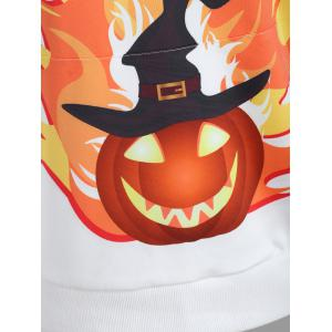 Plus Size Pumpkin Happy Halloween Print Hoodie - WHITE 3XL