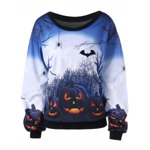 Halloween Pumpkin Print Plus Size Sweatshirt - WHITE 3XL