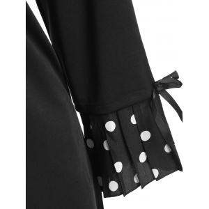 Plus Size Polka Dot Bell Sleeve Dress - BLACK 5XL