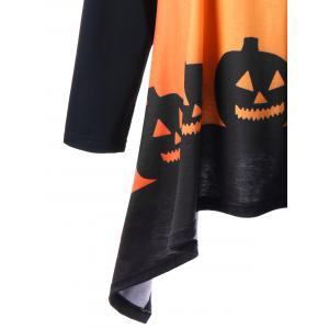 Plus Size Halloween Two Tone Top - ORANGE YELLOW 5XL