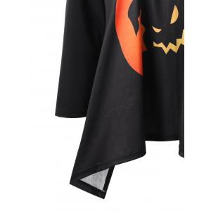 Plus Size Halloween Graphic Raglan Sleeve Top - BLACK AND ORANGE 2XL