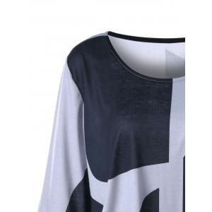 Plus Size Flare Sleeve Curved Hem Top - BLACK AND GREY 2XL