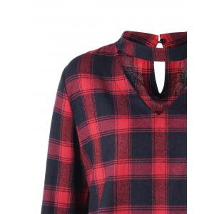 Plus Size Plaid Bell Sleeve Choker Blouse - RED WITH BLACK 2XL