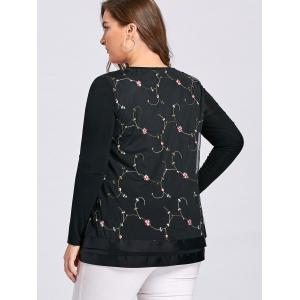 Layered Plus Size Floral Embroidered Blouse - BLACK 4XL