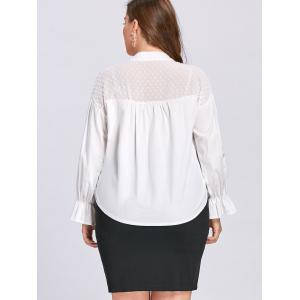 Plus Size Semi Sheer Drawstring Embellished Blouse - WHITE 2XL