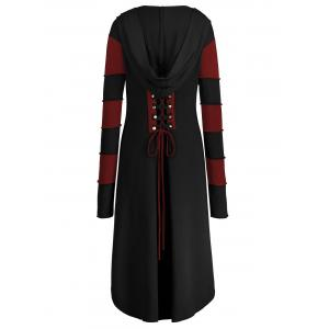 Hooded Plus Size Lace-up High Low  Coat - BLACK&RED 4XL