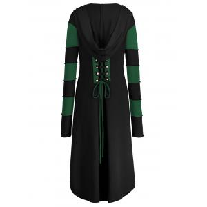 Hooded Plus Size Lace-up High Low  Coat - BLACK AND GREEN 3XL