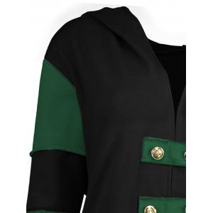 Hooded Plus Size Lace-up High Low  Coat - BLACK AND GREEN 5XL