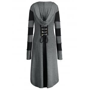 Hooded Plus Size Lace-up High Low  Coat - GRAY XL