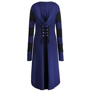 Hooded Plus Size Lace-up High Low  Coat - BLUE 4XL