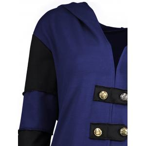 Hooded Plus Size Lace-up High Low  Coat - BLUE 2XL