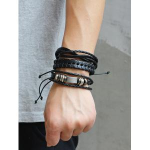 Retro Faux Leather Woven Layered Bracelets Set -