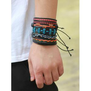 Bohemian Layer Faux Leather Woven Bracelet - COLORFUL