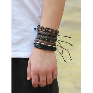 Faux Leather Woven Boho Layered Friendship Bracelets -
