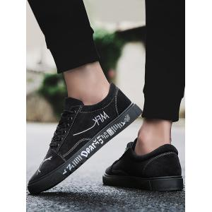 Graphic Print Canvas Sneakers - BLACK 40