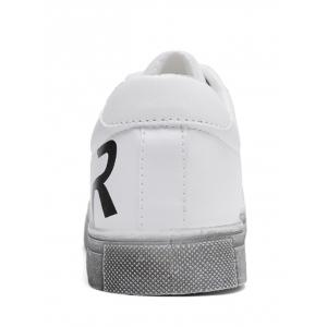 Graphic Faux Leather Sneakers - WHITE 40