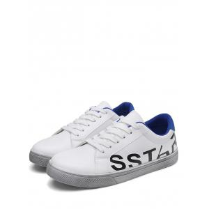 Graphic Faux Leather Sneakers - BLUE 43