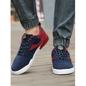 Color Block Faux Suede Sneakers - RED 43