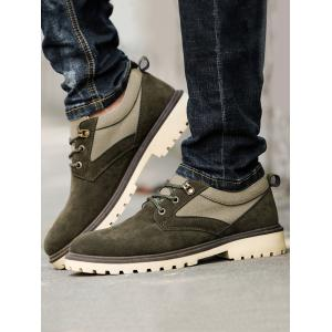 Color Block Faux Suede Casual Shoes - ARMY GREEN 43