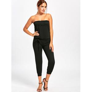Strapless Belted Cropped Jumpsuit - BLACK XL