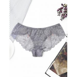 Sheer Lace Scalloped Trim Panties - GRAY ONE SIZE