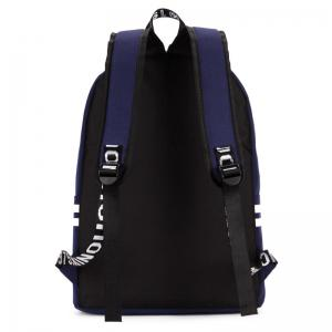 Striped Letter Print Backpack - DEEP BLUE