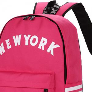 Striped Letter Print Backpack - ROSE RED