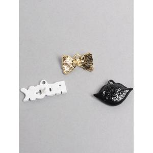 Rock Bows Lips Eye Brooch Set -