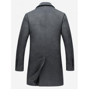 Single Breasted Notched Collar Wool Blend Coat - GRAY XL