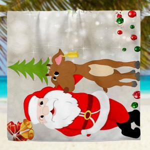 Cartoon Christmas Elk Santa Claus Bath Towel -