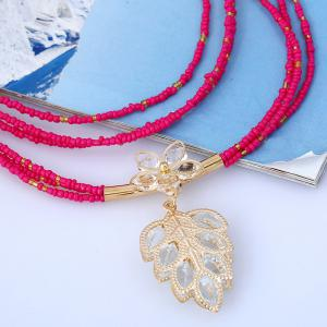 Teardrop Flower Beaded Necklace and Earrings - ROSE RED