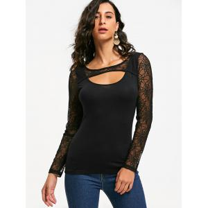 Halloween Spider Web Sheer Keyhole Top - Noir 2XL