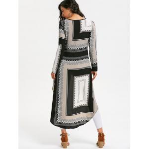 Tribal Print High Low Long Blouse Dress -