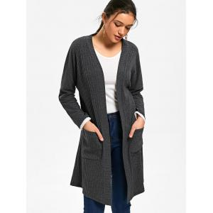 Open Front Drop Pockets Ribbed Coat - MOUSE GREY M