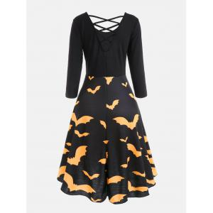 Bat Print Cross Back Fit and Flare Dress - YELLOW S