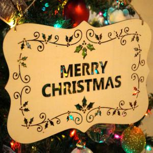 Christmas Tree Decorations Letters Wooden Hanging Sign - WOOD