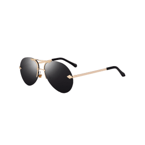 Rimless Alloy Panel Pilot Sunglasses -
