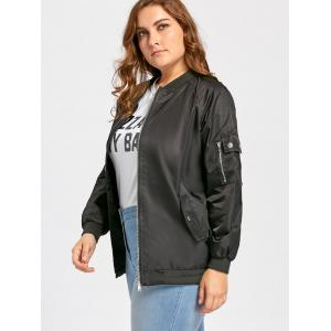 Plus Size Pockets Zip Up Bomber Jacket -